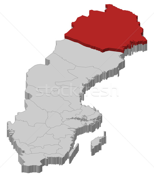 Map of Sweden, Norrbotten County highlighted Stock photo © Schwabenblitz