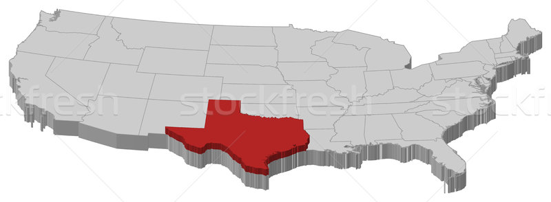 Map of the United States, Texas highlighted Stock photo © Schwabenblitz
