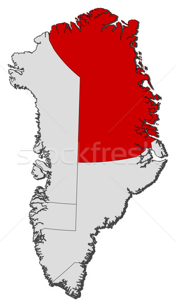 Map of Greenland, Northeast Greenland National Park highlighted Stock photo © Schwabenblitz