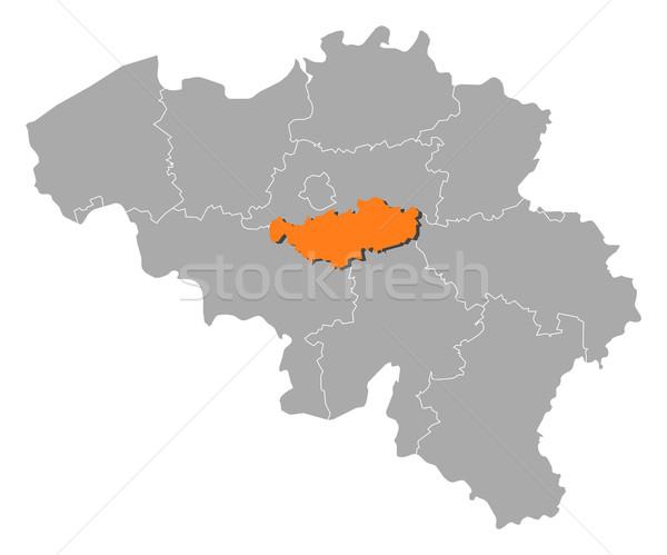 Map of Belgium, Walloon Brabant highlighted Stock photo © Schwabenblitz