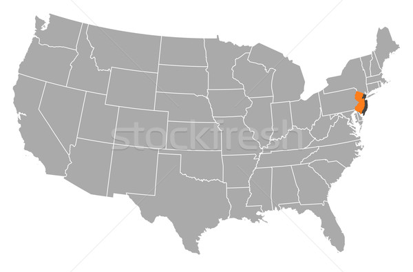Map Of The United States New Jersey Highlighted Vector - Us map nj