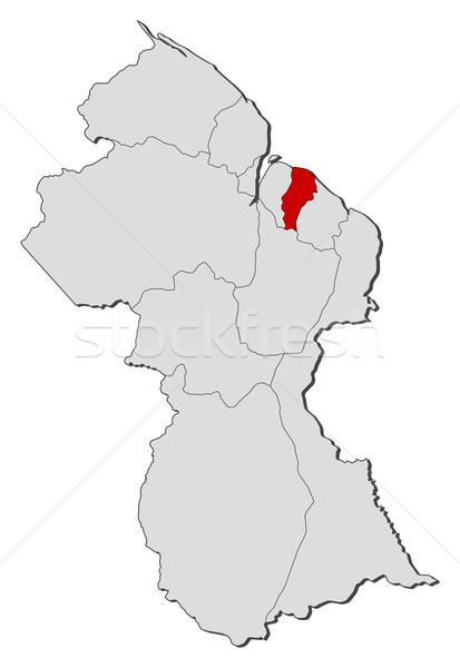 Térkép Guyana politikai néhány régiók földgömb Stock fotó © Schwabenblitz