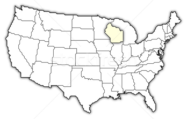 Map of the United States, Wisconsin highlighted Stock photo © Schwabenblitz