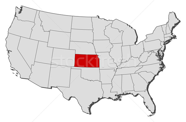 Map of the United States, Kansas highlighted vector illustration ...