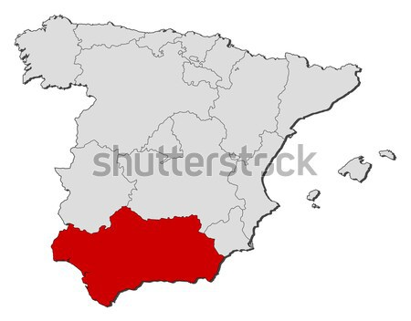 Map of Spain, Andalusia highlighted Stock photo © Schwabenblitz