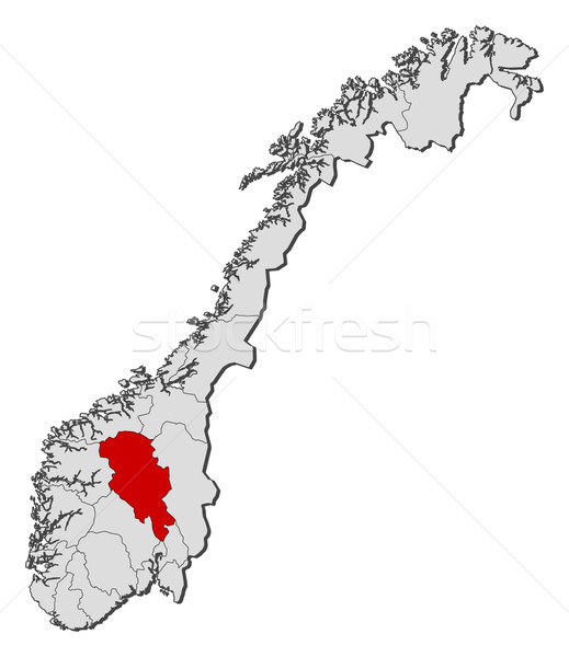 Map of Norway, Oppland highlighted Stock photo © Schwabenblitz