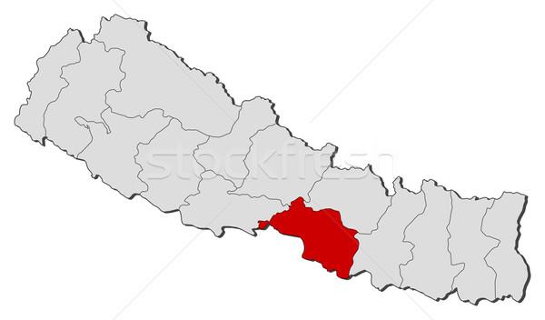 Map of Nepal, Narayani highlighted Stock photo © Schwabenblitz