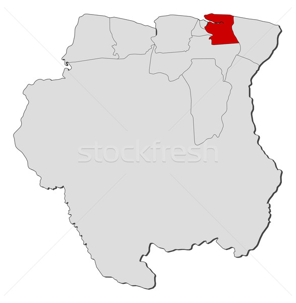 Map of Suriname, Commewijne highlighted Stock photo © Schwabenblitz