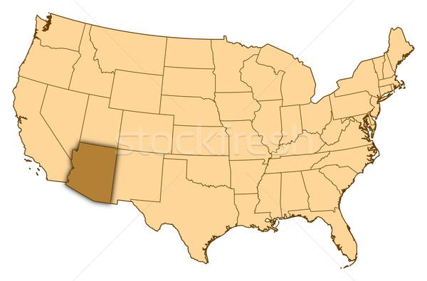 Map of United States, Arizona highlighted Stock photo © Schwabenblitz