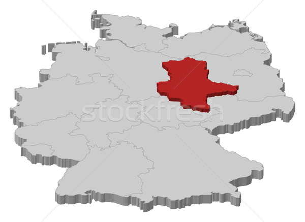 Map of Germany, Saxony-Anhalt highlighted Stock photo © Schwabenblitz