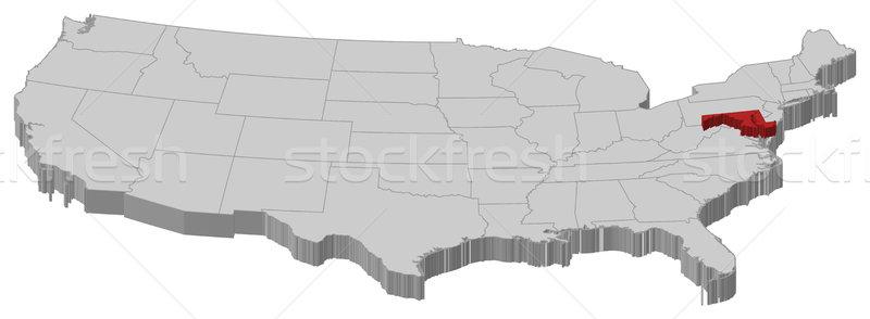 Map of the United States, Maryland highlighted Stock photo © Schwabenblitz
