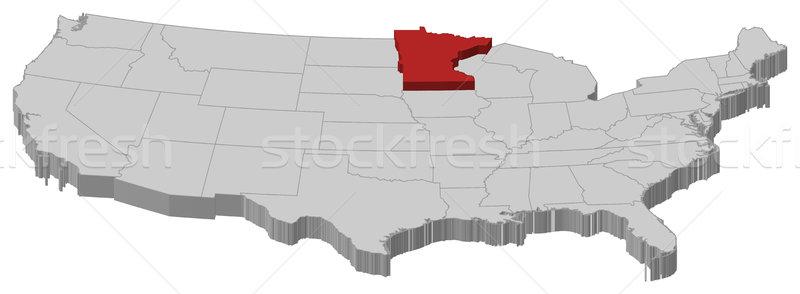 Map of the United States, Minnesota highlighted Stock photo © Schwabenblitz