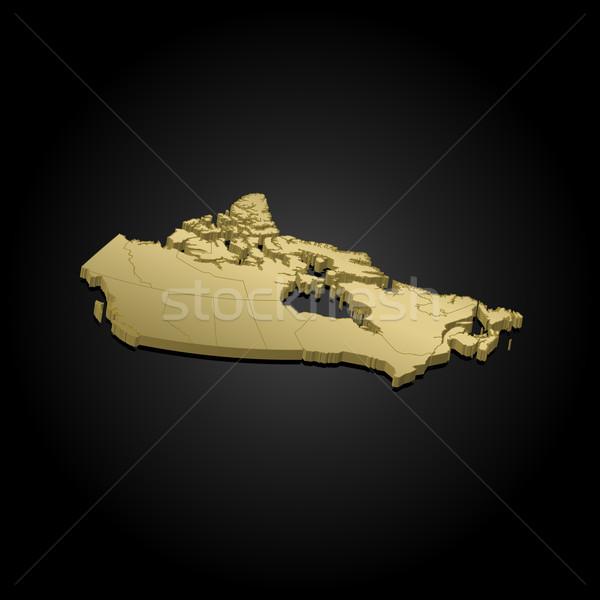 Térkép Kanada arany darab fekete absztrakt Stock fotó © Schwabenblitz