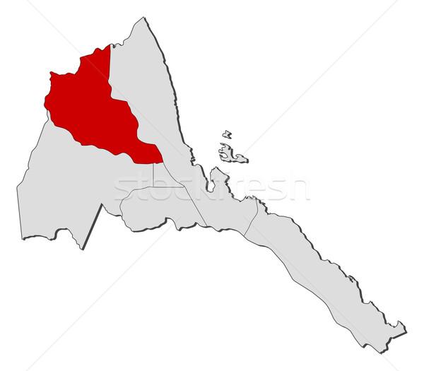 Foto stock: Mapa · Eritrea · mar · rojo · región · político