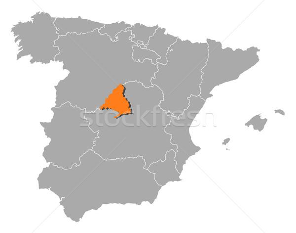 地図 スペイン マドリード 政治的 いくつかの 地域 ストックフォト © Schwabenblitz