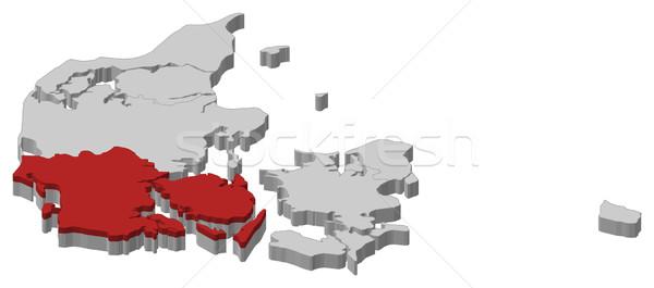 карта юг Дания политический несколько Сток-фото © Schwabenblitz