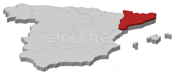 Map Of Spain With Catalonia Highlighted.Map Of Spain Catalonia Highlighted Vector Illustration