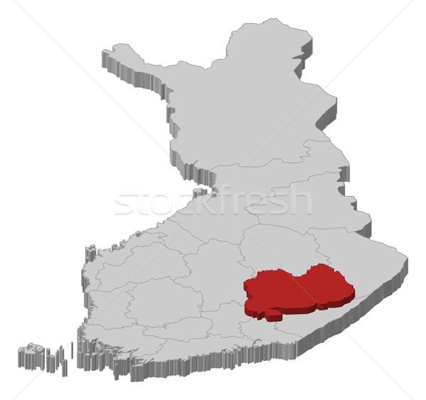 Mapa Finlandia meridional político regiones Foto stock © Schwabenblitz