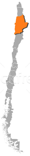 Stock photo: Map of Chile, Antofagasta highlighted