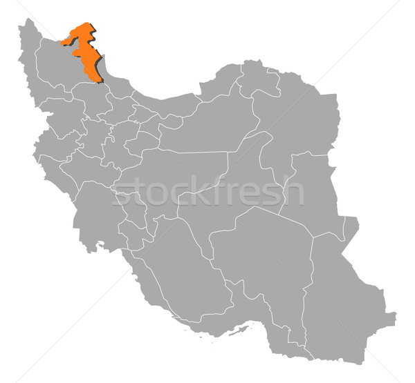 Map of Iran, Ardabil highlighted Stock photo © Schwabenblitz