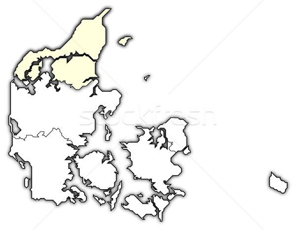 Mapa norte Dinamarca político regiones Foto stock © Schwabenblitz