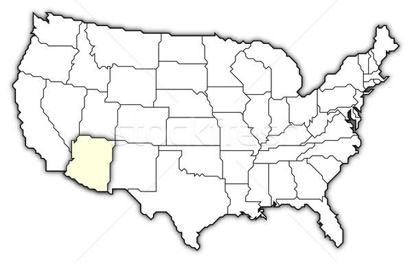 ストックフォト: 地図 · 米国 · アリゾナ州 · 政治的 · いくつかの · 抽象的な