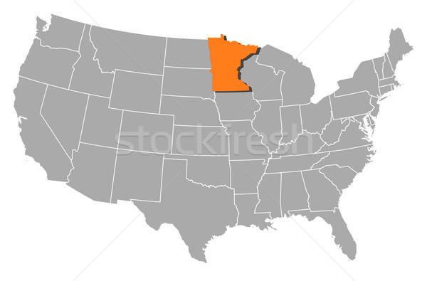 Harita Amerika Birleşik Devletleri Minnesota siyasi birkaç soyut Stok fotoğraf © Schwabenblitz