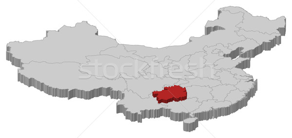 Map of China, Guizhou highlighted Stock photo © Schwabenblitz