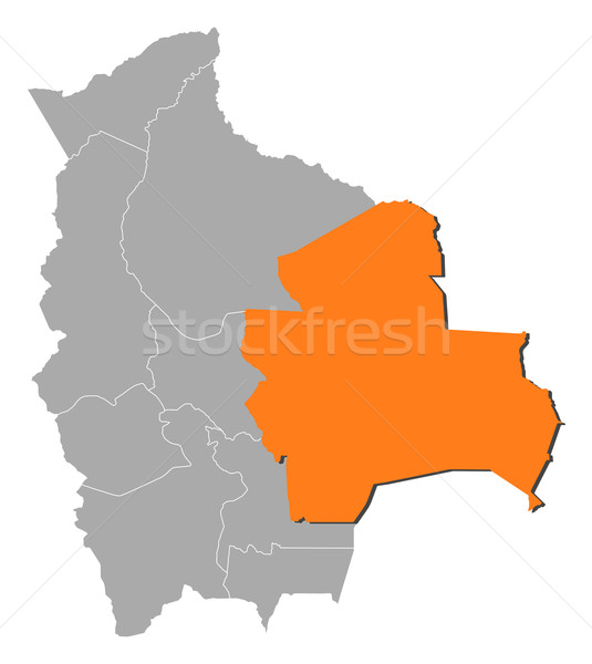 Map of Bolivia, Santa Cruz highlighted Stock photo © Schwabenblitz