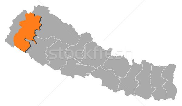 Map of Nepal, Seti highlighted Stock photo © Schwabenblitz