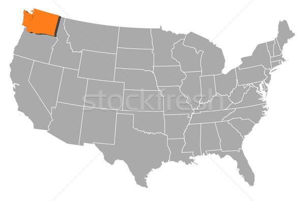 Map of the United States, Washington highlighted Stock photo © Schwabenblitz