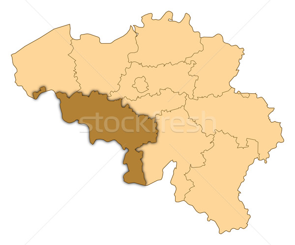Map of Belgium, Hainaut highlighted Stock photo © Schwabenblitz