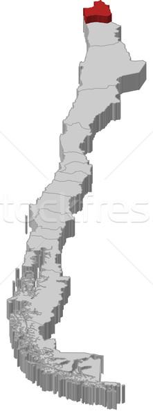 Harita Şili bölge siyasi birkaç bölgeler Stok fotoğraf © Schwabenblitz