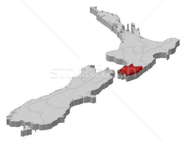 Harita Yeni Zelanda Wellington siyasi birkaç bölgeler Stok fotoğraf © Schwabenblitz