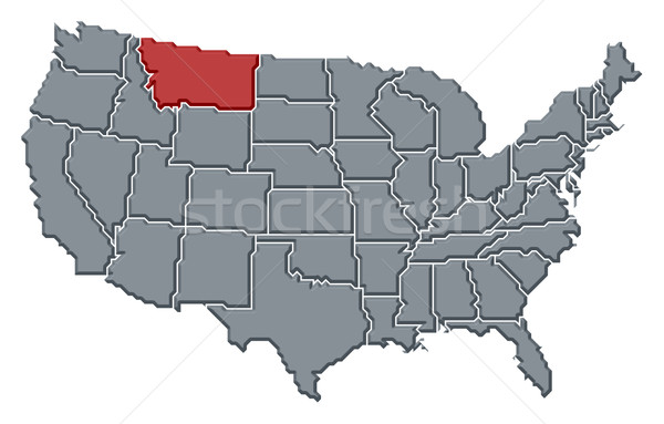 Map of the United States, Montana highlighted Stock photo © Schwabenblitz