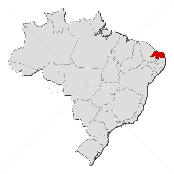 Map of Brazil, Rio Grande do Norte highlighted Stock photo © Schwabenblitz