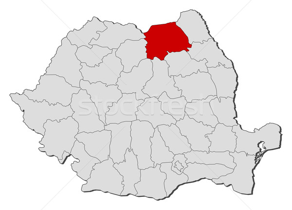 Map of Romania Suceava highlighted vector illustration Steffen