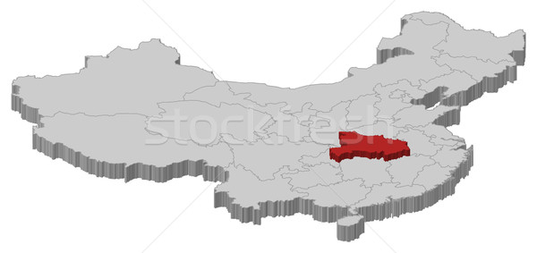 Map of China, Hubei highlighted Stock photo © Schwabenblitz