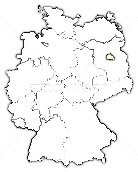 Map Of Germany Berlin Highlighted Stock Photo Steffen Hammer - Germany map drawing