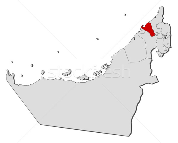 Map of the United Arab Emirates Umm alQuwain highlighted vector