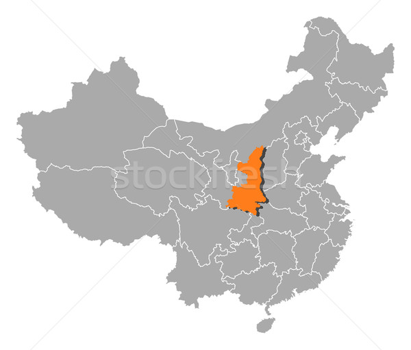 Map of China, Shaanxi highlighted Stock photo © Schwabenblitz