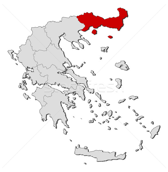 Map of Greece, East Macedonia and Thrace highlighted Stock photo © Schwabenblitz