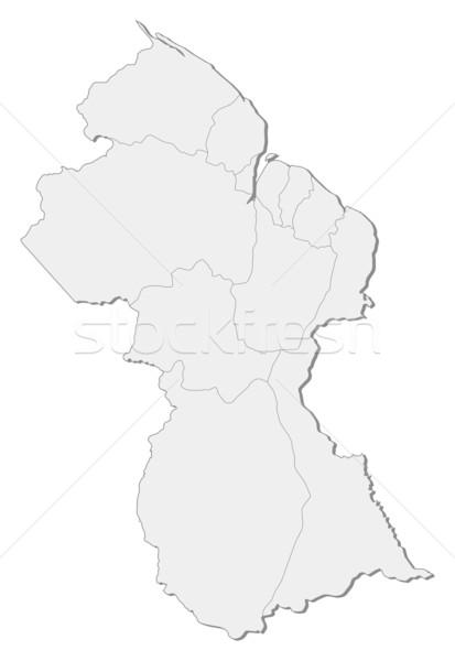 Kaart Guyana politiek verscheidene regio abstract Stockfoto © Schwabenblitz