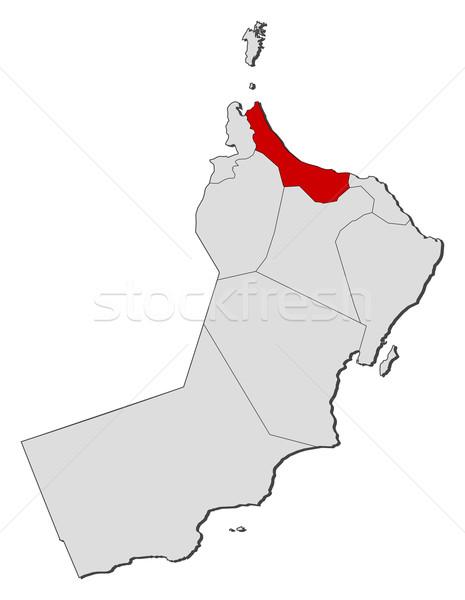 Map of Oman, Al Batinah highlighted Stock photo © Schwabenblitz