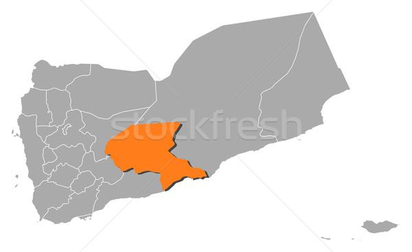 Map of Yemen, Shabwah highlighted Stock photo © Schwabenblitz