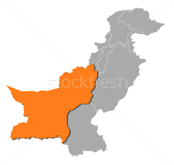 Map of Pakistan, Balochistan highlighted Stock photo © Schwabenblitz