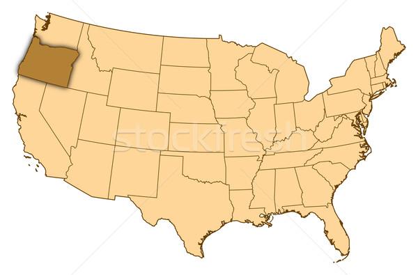 Map of United States, Oregon highlighted Stock photo © Schwabenblitz