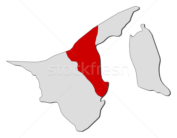 Map of Brunei, Tutong highlighted Stock photo © Schwabenblitz