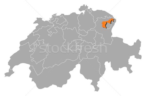 Map of Swizerland, Appenzell Ausserrhoden highlighted Stock photo © Schwabenblitz