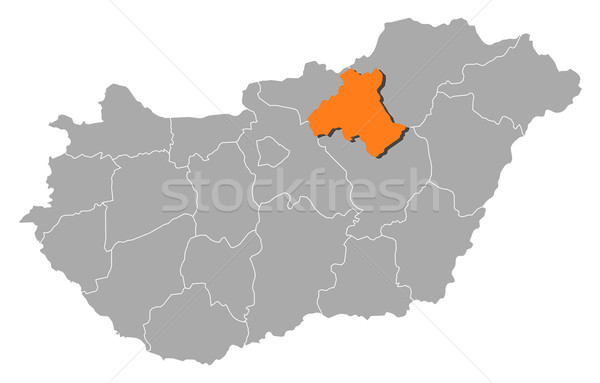 Map of Hungary, Heves highlighted Stock photo © Schwabenblitz